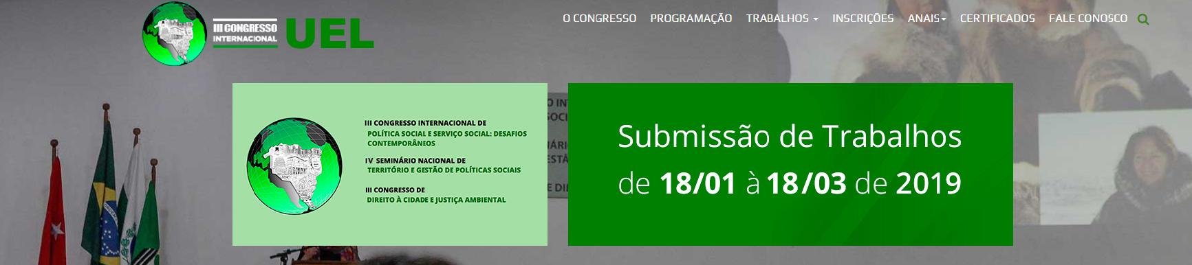 III CONGRESSO INTERNACIONAL DE POLÍTICA SOCIAL E SERVIÇO SOCIAL